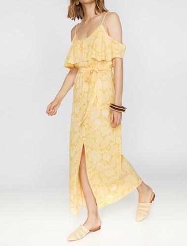 Koton Düğme Detaylı Elbise Sarı